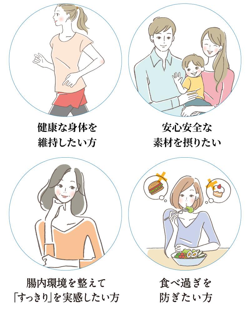 健康志向の方、家族の健康管理のため、腸内環境を整えてすっきりしたい、食べ過ぎを防ぎたい
